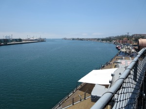 view of harbor from battleship iowa