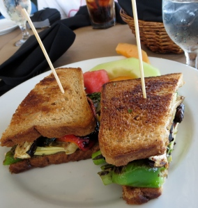 veggie sandwich after battleship iowa at restaurant