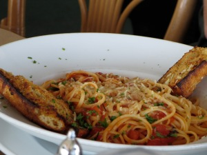 spaghetti at restaurant after seeing battleship iowa