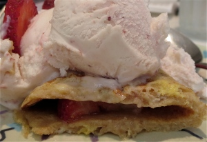 strawberry frozen yogurt crepe, ready to eat