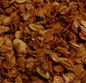 basic homemade granola with almonds and walnuts
