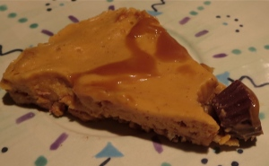 "peanut butter caramel pumpkin pretzel peanut butter cup ""ice cream"" pie with coconut milk"
