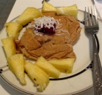 dessert for breakfast day 2 pina colada single pancake with cherry jam