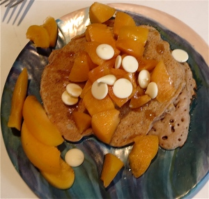 apricot oatmeal white chocolate single serving pancake