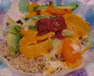 brown rice Mexican bowl with roasted mini peppers