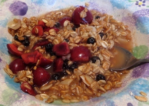 cherry almond blueberry oatmeal