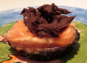 blood orange flourless chocolate sorbet cupcake with chocolate hard shell: egg fee dairy free