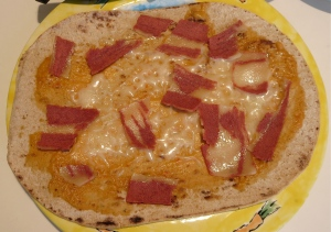 flat out flatbread personal pizza hummus cheese and fake bacon