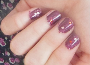 purple rhinestone Bar Mitzvah nails