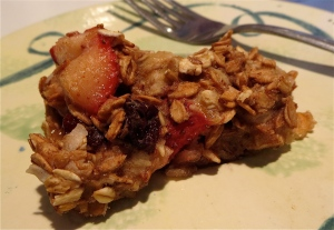 banana baked oatmeal with strawberry, coconut, dried cherry
