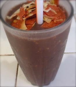 veggie bacon raisin bran pear chocolate smoothie