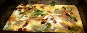 Italian breakfast casserole with Flat Out and collard greens, sun dried tomato, Tofurkey