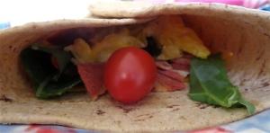 easy egg cheddar vegetarian bacon breakfast burrito