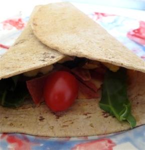 breakfast burrito/wrap easy egg cheddar veggie bacon