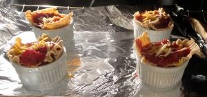 lasagna ramekins in the oven