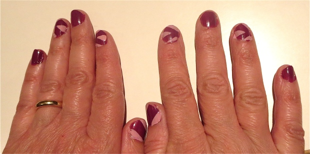 modern art nails purple pink