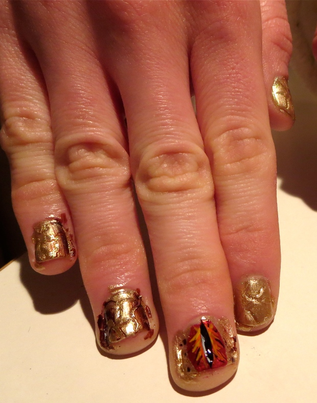 crocodile nails with red eye