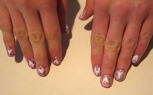 pointillism heart nail design Valentine's Day 2014