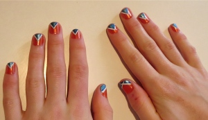 triangles orange blue nail design tribal
