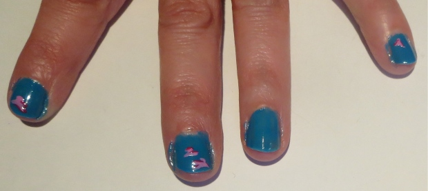 pink and blue flower petal nails