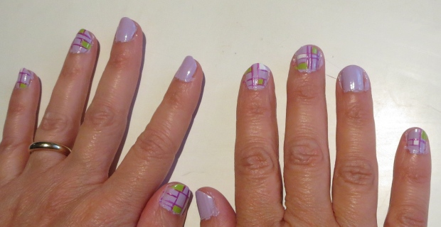 lavender nails inspired by artist Piet Mondrian