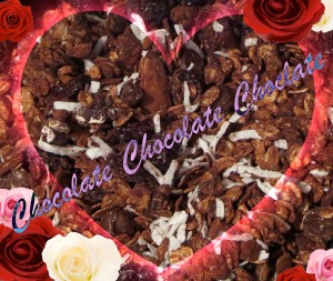 chocolate almond cherry granola heart