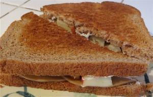 tofurkey sandwich apple cream cheese fig jam