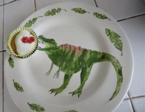 berry cheesecake cupcake dinosaur plate
