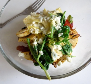 plantain banana wilted kale gorgonzola egg passover breakfast bowl