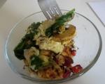kale egg gorgonzola breakfast bowl with plantain banana