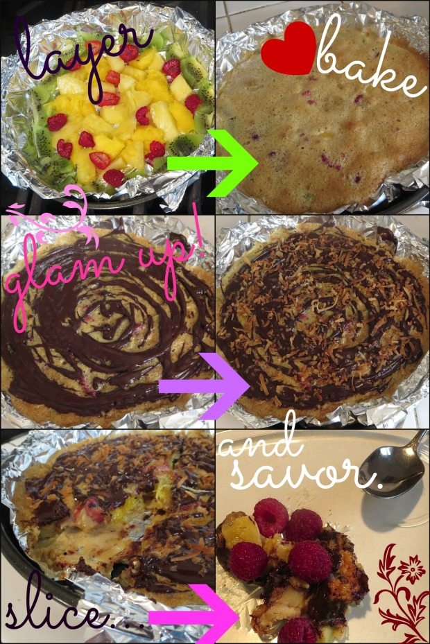 Passover tropical upside down cake collage