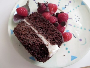 chocolate vanilla layer cake frozen yogurt with raspberries chocolate chips
