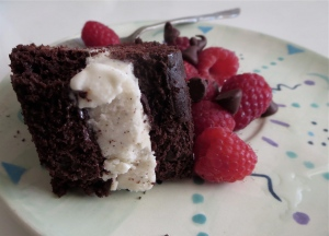 chocolate swirl layer cake vanilla frozen yogurt raspberries chocolate chips