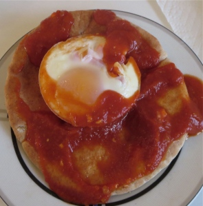 baked egg shakshuka on pita