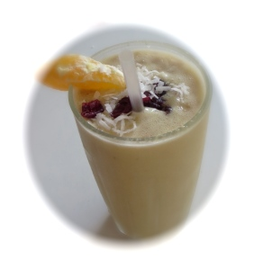 pineapple carrot cake orange coconut cranberry smoothie