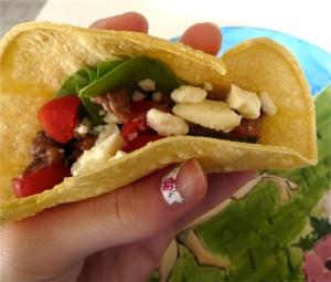 black bean hummus taco feta spinach tomato