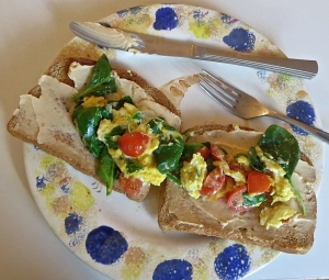 cream cheese scrambled egg toasts