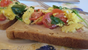breakfast egg toast cream cheese cherub tomato spinach