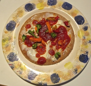 breakfast veggie pizza cream cheese pita
