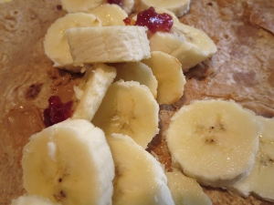 almond butter banana cherry jam whole wheat wrap
