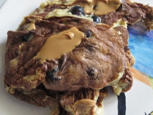 blueberry Greek yogurt pancakes with peanut butter