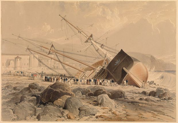 640px-Wreck_of_the_Dart_(Sketched_on_the_Morning_after_the_Storm_of_the_25th_Octr_1842)_at_Madeira